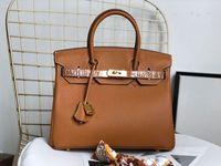 gemusterte taschen großhandel-Designer Handtaschen Harms 25cm 30cm 35cm Damenmode Totes Litschi Muster echtes Leder Designer Taschen Damen Luxus Geldbörse Handtasche