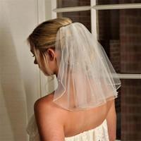 Bachelorette Hen Party Veils Wedding Veils Short Bridal Veils Shoulder Length Handmade Soft Tulle Pearls Bride Veil Wedding Favor Free Comb
