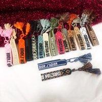 ювелирные изделия ручной работы оптовых-Роскошный браслет из веревки в стиле плетеной ткани со швейными словами и кисточкой на ремешке известного бренда для женщин в подарок