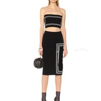 Wholesale string dress sets for sale - Group buy 2019 Summer New Tube Top String Long Skirt Letter Knit Casual Dress Suit Sleeveless Solid Slim Fit Women Clothes Two Piece Sets Size S L