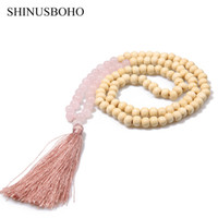 Wholesale handmade semi precious necklaces resale online - SHINUSBOHO Tassel Long Necklace for Women Handmade mm Semi precious Stones amp Wood Beaded Necklace Friendship Jewelry Female