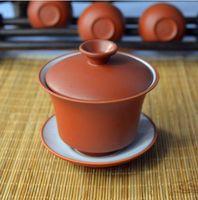yixing lehm großhandel-Roter Yixing Zisha-Ton handgefertigter Kung Fu Gaiwan 100ml chinesische purpurrote Ton-Teekanne