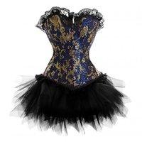 trajes de corsé azul al por mayor-Goth Punk Burlesque Brocade Gold Blue Brocade Corsé Vestido de fiesta de Halloween Bustier Top con conjunto de falda