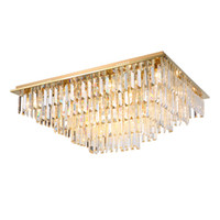 sala de estar iluminação retangular venda por atacado-Nova moderno ouro regulável teto de cristal retangular chandelier lighting luxo montagem em lustres de luz por quarto sala de estar