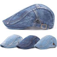 ingrosso berretto da berretto blu-Uomini Blu Denim ha alzato Ivy Cap Golf Driving piatto Cabbie dello strillone Beret Hat HATCS0223