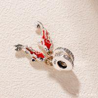 браслет из стерлинговой рыбы оптовых-Fit Pandora ожерелье из стерлингового серебра 925 пробы мода рыбные бусы браслет кулон DIY парча бусы карп любовь ожерелье браслет ювелирные изделия
