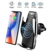 iphone luftentlüftung großhandel-S5 drahtlose auto-ladegerät automatische klemmung für iphone android air vent handyhalter 360 grad-umdrehung 10 watt schnellladung mit box