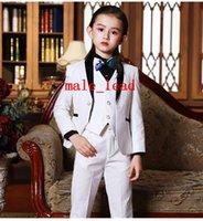 kız resmi yelekler toptan satış-2019 Ucuz Erkek Smokin Güzel Kız Yemeği Çocuklar için Resmi Örgün Takım Elbise Smokin Çocuklar Smokin (Ceket + Pantolon + Kravat + Yelek) A02