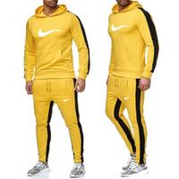 erkek giyim markası toptan satış-Yeni 2019 Yepyeni Moda Suit Erkekler Spor Baskı Erkekler Kapüşonlular Kazak Hip Hop Erkek eşofman sweatshirt Giyim