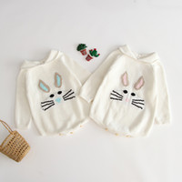 Wholesale baby long sleeve romper pattern for sale - Group buy Baby Autumn Knitted Triangle Romper Long Sleeve Turn Down Collar Rabbit Pattern Wool Pullover Kids Designer Onesies Girls Soft Outfits T