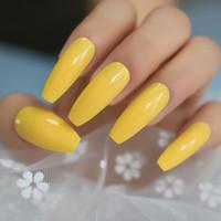 cinta adhesiva amarilla al por mayor-Neon Bright Leon Yellow Press sobre uñas postizas Ataúd extralargo Forma de bailarina Gel UV Pegamento en las uñas de los dedos Cintas adhesivas gratuitas