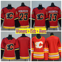 Wholesale women jersey 23 resale online - 2019 Ladies Calgary Flames Hockey Jersey Johnny Gaudreau Mark Giordano Sean Monahan Home Red Girls Kids Womens Mens Stitched Shirts