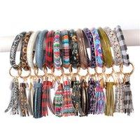 Wholesale fashion plastic bangles for sale - Group buy PU Leather Bracelet Keychain Women Fashion Leopard Bufflao Plaid Wristlet Keychain Tassel Bangle Keychain Wristband Novelty Items OOA7366