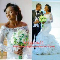 ingrosso vestiti in pizzo cascata-Plus Size 2019 Nigeria Appliqued Lace Mermaid Abiti da sposa con maniche lunghe cascading Ruffles abiti da sposa africani Abiti da sposa