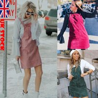 Ladies Dress Women Top Pinafore Skirt Mini Skater Dungrees Frill Vest Casual New