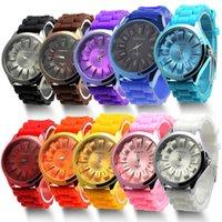 moda renkli lastik spor saati toptan satış-Hediye Moda Unisex Jelly Jel Şeker Renkli Kadınlar kız erkek Spor Bilek İzle Cenevre Silikon Rubber-M40