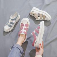 talon bleu fermé achat en gros de-2019 été nouvelles sandales de mode pour femmes rose bleu beige plateforme talon talon fermé sandales pour femmes