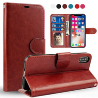 carteira photoframe venda por atacado-Para iphone xs max xr x 8 7 plus retro flip stand carteira de couro case photoframe tampa do telefone para samsung s9 s10 plus