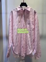 gestreifte tops für mädchen großhandel-Frauen Luxus Designer Mädchen Tops Allover Logo maskulines Hemd gestreift Baumwolle Popeline Runway weiblich lässig Vintage Pullover Logo Shirt Tops