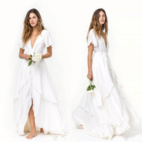 Wholesale beach wedding dresses layered resale online - 2020 Sexy Slits Skirts A Line Beach bohemian Wedding Dresses Cheap Short Sleeves Deep V Neck Layered Train Silk Satin Chiffon Bridal Gowns