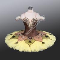 tutu de desempenho amarelo venda por atacado-Mulheres adultas amarelo profissional ballet tutus performance stage panqueca tutu ballet desgaste de dança meninas bailarina dress criança b1222