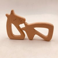 Wholesale toy horses for free resale online - 4pcs Infant Wooden horse shape Teethers for Baby Kids Molar Pacifier Chain Necklace Toys Food Grade Beech Teething Training Toy