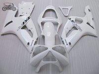 kit de cuerpo blanco kawasaki zx6r al por mayor-Moldeo por inyección de carenados kit del cuerpo para Kawasaki Ninja ZX6R 2003 2004 03 04 ZX636 ZX6R 636 deporte blanco piezas de la motocicleta carenado chino