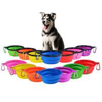 cachorros bebendo tigela venda por atacado-Pet bowl silicone dobrável cão itinerante portátil bebendo placa água brinquedo do cão dobrar Frisbee pet placa do alimento T3I5426