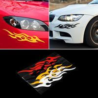 calcomanías llamas del coche al por mayor-Etiqueta engomada del coche universal Styling Motor Hood Motor Decal Mural Vinilo Cubiertas Accesorios Auto Flame Fire Envío Gratis