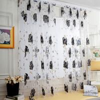 cortinas de bufanda de cenefa al por mayor-Hojas de vid Tulle Puerta Cortina de la ventana Panel de cortina Pura bufanda Cenefas Cortinas en la sala de estar Decoración para el hogar Sheer Voile Cenefas