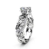 tamanho dos anéis de casamento do noivado venda por atacado-Cor prata Anéis de Flor Padrão para As Mulheres Senhoras Na Moda Simples Anéis De Noivado De Casamento Incrustado Zircon bijoux femme Tamanho 6-10