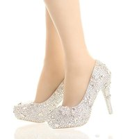 Wholesale high heels wedding 12 cm for sale - Group buy Fashion Luxurious Pearls Crystals White Wedding Shoes Size cm High Heels Bridal Shoes Party Prom Women Shoes