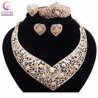 Wholesale new crystal bracelet designs resale online - Bridal Wedding African Beads Jewelry Sets Gold Plated Crystal Women New Design Heart Necklace Earrings Bangle Ring Jewelry Sets