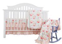 Wholesale bohemian comforter bedding set resale online - 3pcs Blush Mint Girls cotton Crib Set Bohemian Floral Nursery Baby Bedding include Crib Sheet Skirt quilter comforter