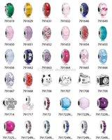 perles de lampwork noël achat en gros de-Cadeaux de Noël en gros DIY Pandora perles pendentif charmes sécurité chaîne boucles d'oreilles anneaux en argent sterling 925 bijoux pour bracelets