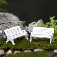 ingrosso miniature garden-Mini Garden Ornament Miniature Park Seat Bench 2pcs Craft Fairy Dollhouse Decor Fai da te materiale da tavolo modello sabbia