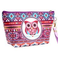 Wholesale handmade cosmetic bags for sale - Group buy New Owl Handmade Cosmetic Bag Toiletry Animal Cartoon Travel Zipper Leather Makeup Waterproof Wash Organizer Bag
