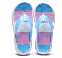 keil strand sandalen rosa großhandel-2019 sommer Hausschuhe Frauen Casual Massage Durable Flip-Flops Strand Sandalen Weiblichen Keil Schuhe Gestreifte Dame Flip-Flops
