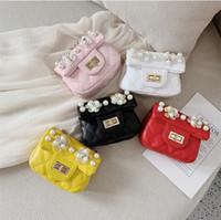 boncuklu kedi poşetleri toptan satış-Bebek Çiçek boncuk Çanta Moda Çocuklar Omuz Çantası Küçük Kızlar Hediyeler Toddler Çanta Çanta Çocuk Mini Messenger Çanta PU Deri LE327