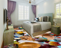 Discount 3d flooring mural 3d PVC Self Adhesive Floor Wallpaper Colorful Onyx Living Room Bedroom 3D Floor Interior Mural Wallpaper