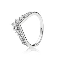 ingrosso wedding ring set-Clear CZ Diamond Princess Anello di desiderio Set scatola originale per Pandora 925 Sterling Silver Women Girls Wedding Crown Rings