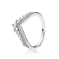 gümüş alyans yüzük setleri toptan satış-Temizle CZ Elmas Prenses İstek Yüzük Seti Pandora için Orijinal Kutusu 925 Ayar Gümüş Kadın Kızlar Düğün Taç Yüzük
