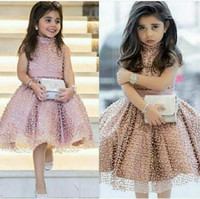 Wholesale girl pearl collar princess dress for sale - Group buy Dusty Pink Princess Cute Girls Pageant Dresses Pearls Beaded Fitted A Line Short Knee Length Flower Girl Dress Arabic Pageant Weddings