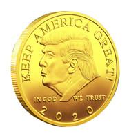 ingrosso monete d'oro americane-2020 Trump Monete Commemorative Coin American 45th President Donald Craft Souvenir Collezione di medaglie in metallo argento oro Non in valuta