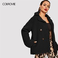 9b12012c33 COLROVIE Black Solid Notched Double Breasted Workwear Teddy Coat Women  Clothing 2019 Spring Fashion Office Lady Outerwear Coats