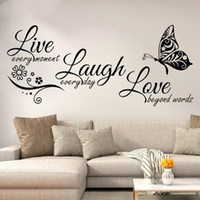 Wholesale bedroom love mural for sale - Group buy New Live Love English Creative Butterfly Living Room Bedroom Decorating Sticker Simple Modern Style Green Removable Wall Sticker