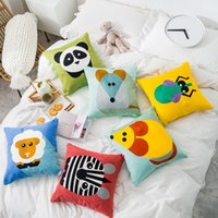 Wholesale fine linens for sale - Group buy Cute Cartoon Animals Pillow Cover Colorful Embroidered Fine Linen Pillow Cushion Decorative For Sofa Home Decor Throw Pillowcase