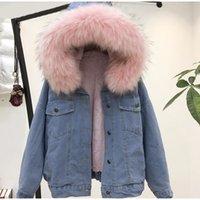denim girl inverno jaquetas venda por atacado-2019 Winter Fashion Mulheres Denim Jacket casaco quente Fleeced para a menina encapuçado da pele Cotton Collar casaco quente Jacket solto acolchoado Blends IG Hot S-2XL