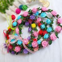guirlande de tête achat en gros de-Fleur Couronne de Bohême Head Rose Couronne en rotin Garland festival de mariage nuptiale florale Bandeau Coiffe Party Decoration LJJA3735-2