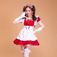 japanische sexy kinder großhandel-Kostüm lolita französisch satin erwachsene rosa sissy maid lange cosplay kostüm uniform japanisch anime kinder sexy maid kostüme frauen kostüm